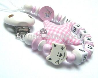 Schnullerkette, personalisiert mit  Wunsch-Name, Namen,  Katze und Knisterstern