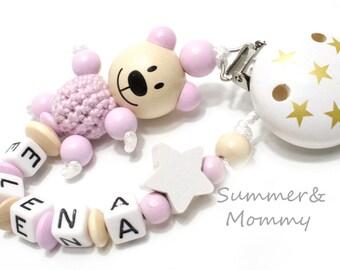 personalisierte Schnullerkette Teddy Bär rosa, mit Namen, Name, Mädchen, rosa-beige