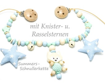 Stroller chain, car necklace nature mint light blue, with 3d figure Fox, crackling & Rattle stars