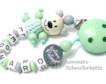 personalisierte Schnullerkette Mint, mit Namen, Teddy Bärchen