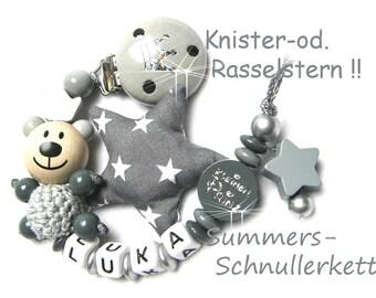 Schnullerkette personalisiert mit Wunschnamen mit Knister-od. Rasselstern Bär kleiner Prinz