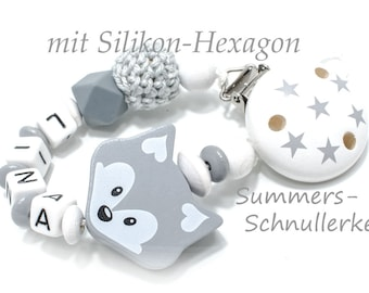personalisierte Schnullerkette Fuchs, mit Häkelperle + Silikonperle, mit Namen, grau-weiß