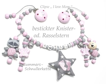 Stroller chain, car chain with name, crackling star, 3-D figures, bells