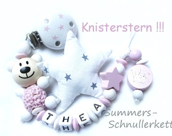 Personalisierte Schnullerkette mit Knister od. Rasselstern, Mädchen, Teddy,  Krone, Sterne mit namen