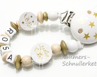 Schnullerkette, personalisiert, Gold-Weiß, kleine Diva, Engel, mit Namen