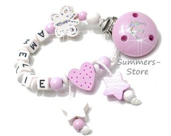 Schnullerkette mit Namen, Schmetterling, Holzsternchen und Herzchen, mädchen, Rosa-weiß
