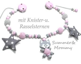 Stroller Necklace Fox Crackling & rattle stars, crochet beads, for girls
