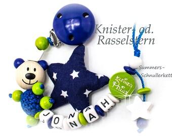 Nuckelkette mit Namen personalisiert, Teddy Bär, kleiner Prinz, für Jungen, Knisterstern, Rasselstern