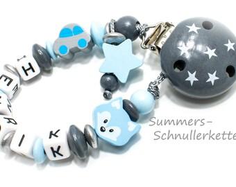 Schnullerkette mit Namen Auto und Stern Babyblau Junge, mit Namen für JUNGEN Junge, Taufe, Baby, Geburtstag, Party, Geschenk, Schnuller