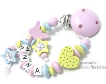 Schnullerkette Pastell,  personalisiert ,  Mädchen, Nuckelkette