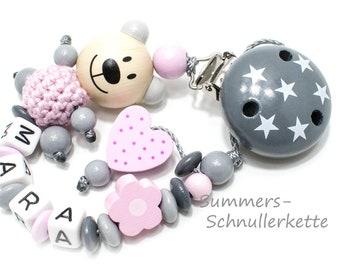 Personalisierte Schnullerkette mit Namen,  Mädchen, mit Teddy und Herzchen, rosa-grau