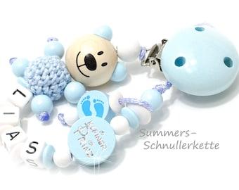 Personalisierte Schnullerkette mit Namen,  Babyblau, Teddy, super süß