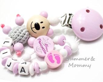 Schnullerkette kleine Prinzessin, Holz, baby mädchen, mit namen name