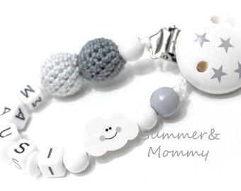 personalisierte Schnullerkette mit Namen, Taufe, weiß, grau, Mini Wolke, Häkelperlen, Sternchen , Junge oder Mädchen