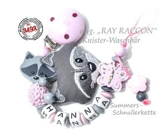 """personalisierte Schnullerkette ORIGINAL """"RAY Racoon"""" Waschbär, mit Namen, Rosa-grau, Baby"""