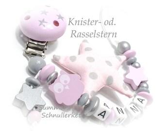 Schnullerkette mit Namen in rosa grau mit Knisterstern