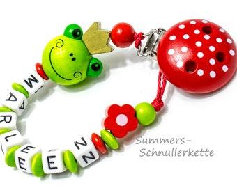 Baby Schnullerkette , personalisiert mit Namen,  Clip Dots, Frosch, Froschkönig