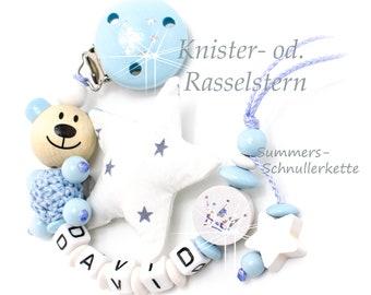 Personalisierte Schnullerkette Teddy mit Knister - od. Rasselstern