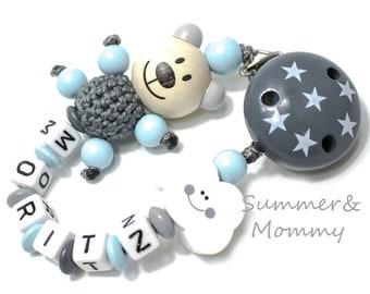 Personalisierte Schnullerkette mit Namen, Schnullerkette Teddy Bär, Wolke, Jungen, Geschenk Baby , Nuggikette
