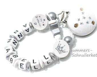 Schnullerkette mit Namen, weiß-silber, Sternchen und Krone