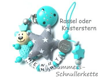 personalisierte Baby Schnullerkette türkis mit Teddy und Knisterstern, Stoffstern