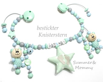 Stroller Necklace Mint, Teddies, with Bells + Crackling star, with Name