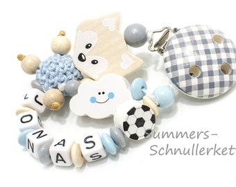 Schnullerkette mit Namen,  Junge Fußball Fuchs, Natur, Name, Babyparty, Taufe Geburt, Fußball Wolke