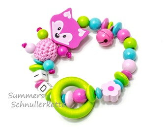 Grippling, Greifring Fuchs, personalized with wish name, pink, colorful girl