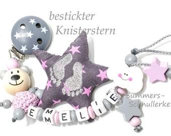 Schnullerkette mit Namen,  Mädchen,  Wolke, Teddy, Knisterstern , Acrylbuchstaben,  Bär , lachende Wolke