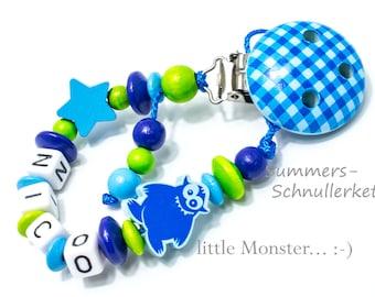 Schnullerkette kleines Monster,  Blau für Jungen , Junge mit Wunschnamen, personalisiert