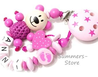 Schnullerkette mit Name,  Pink Rosa für Mädchen, Häkelperle