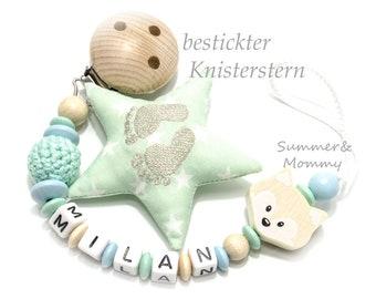 Personalisierte Schnullerkette mit Namen, Beige-Mint, Fuchs, bestickter Knisterstern, Stern, Junge oder Mädchen