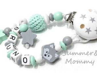 Schnullerkette Fuchs Mint-grau, Sterne mit Namen