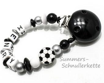 Schnullerkette, personalisiert,  Fußball, mit Namen