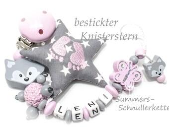 Personalisierte Schnullerkette Mädchen, Fuchs, Schmetterling, mit NAMEN und besticktem Knisterstern / grau-rosa