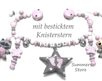 Stroller necklace with or without name, teddy, raccoon and butterflies, embroidered crackling, for girls, grey-pink