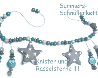 Stroller necklace to binge, for Babysafe baby bowl, petrol grey, crackling and rattle stars