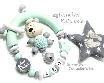 Grippling Mint Grey, little Prince, Teddy 3d, embroidered crackling star
