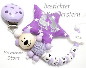 personalisierte Schnullerkette mit Namen, Teddy Bär, Wolke, bestickter Knisterstern, Flieder, Baby, Mädchen