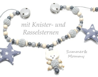 Stroller chain fox Knister and rattle stars, crochet beads, natural grey