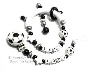 Schnullerkette und Greifling Set Fußball