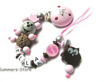 Schnullerkette Maus, personalisiert mit Namen, Name,  Eule, Babyfüßchen, für Mädchen