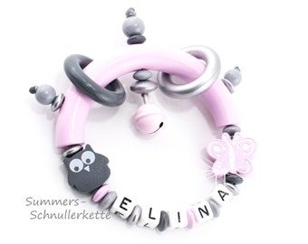Grippling, Greifring, with wish name pink grey with Owl