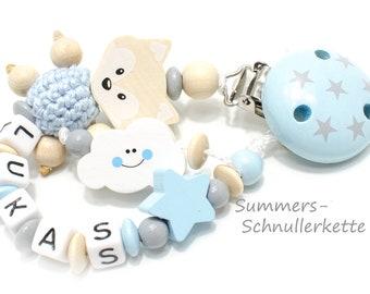 Personalisierte Schnullerkette hellblau natur, grau, Wolke Fuchs Sternchen, mit oder ohne Namen