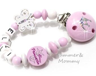 Schnullerkette mit Namen,  kleine Prinzessin und Schmetterling, Baby Geschenk, Mädchen