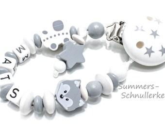 personalisierte Schnullerkette in grau-weiß, mit Namen