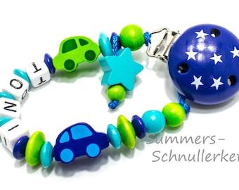 personalisierte Schnullerkette Junge,  Autos, grün dunkelblau, Sterne, mit Namen