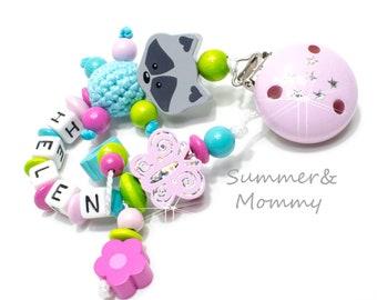 personalisierte Schnullerkette mit Namen, Geschenk, Baby Mädchen,  Schmetterling, türkis rosa, pink