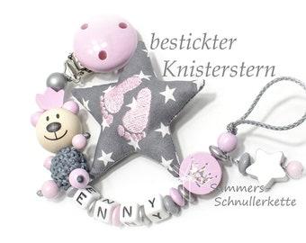personalisierte Schnullerkette mit Namen, rosa-grau,  Teddy Mädchen