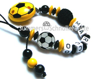 Schnullerkette schwarz gelb Fußball